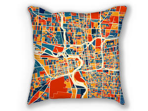Columbus Map Pillow - Ohio Map Pillow 18x18