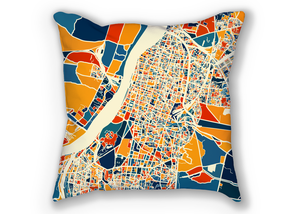 Kolkata Map Pillow - Calcutta Map Pillow 18x18