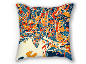 Oslo Map Pillow - Norway Map Pillow 18x18