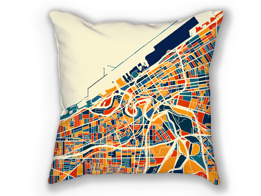 Cleveland Map Pillow - Ohio Map Pillow 18x18
