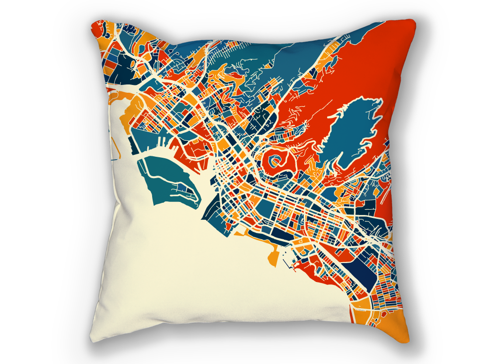 Honolulu Map Pillow - Hawaii Map Pillow 18x18