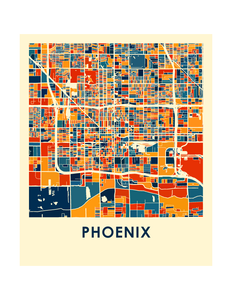 Phoenix Map Print - Full Color Map Poster