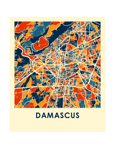 Damascus Map Print - Full Color Map Poster