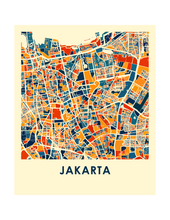 Jakarta Map Print - Full Color Map Poster