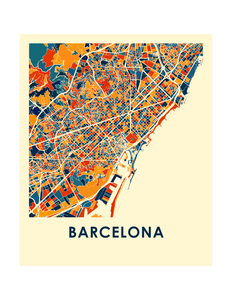 Barcelona Map Print - Full Color Map Poster