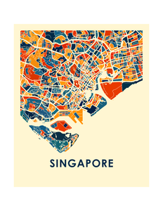 Singapore Map Print - Full Color Map Poster