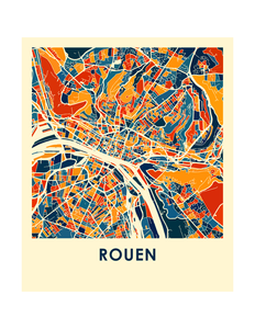 Rouen Map Print - Full Color Map Poster