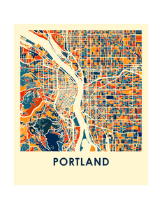 Portland Map Print - Full Color Map Poster