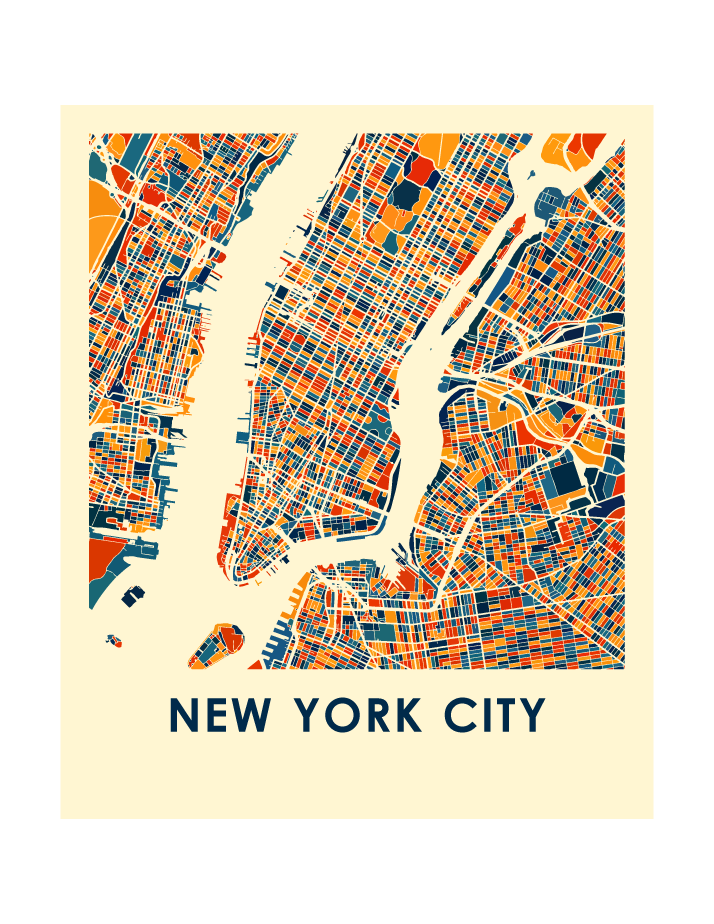 Map Of New York Poster.New York City Map Print Full Color Map Poster