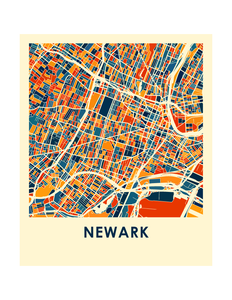 Newark Map Print - Full Color Map Poster