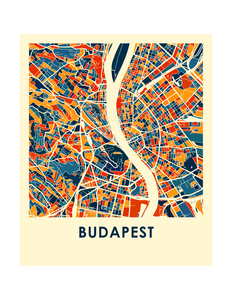 Budapest Map Print - Full Color Map Poster