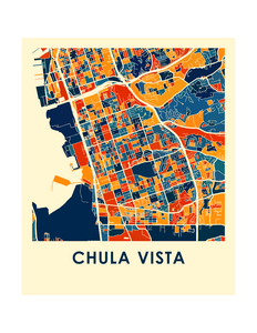 Chula Vista Map Print - Full Color Map Poster