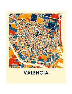 Valencia Map Print - Full Color Map Poster