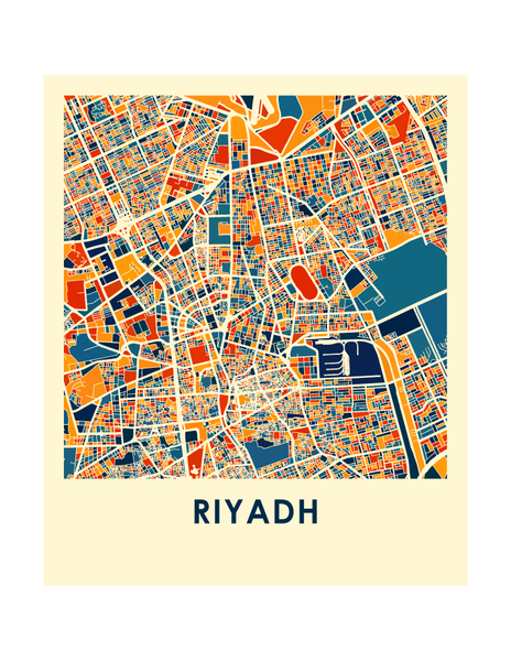Riyadh Map Print - Full Color Map Poster