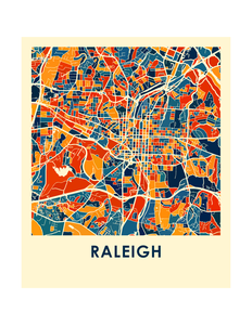 Raleigh Map Print - Full Color Map Poster