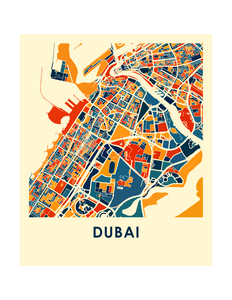 Dubai Map Print - Full Color Map Poster