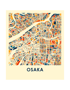 Osaka Map Print - Full Color Map Poster