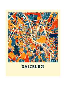 Salzburg Map Print - Full Color Map Poster
