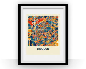 Lincoln Map Print - Full Color Map Poster