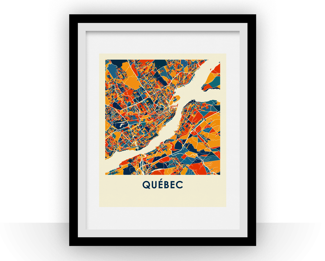 Quebec Map Print - Full Color Map Poster