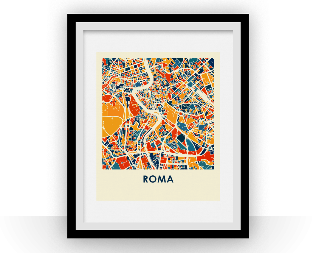 Rome Map Print - Full Color Map Poster