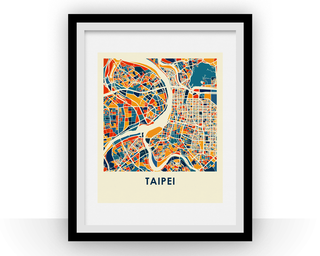 Taipei Map Print - Full Color Map Poster