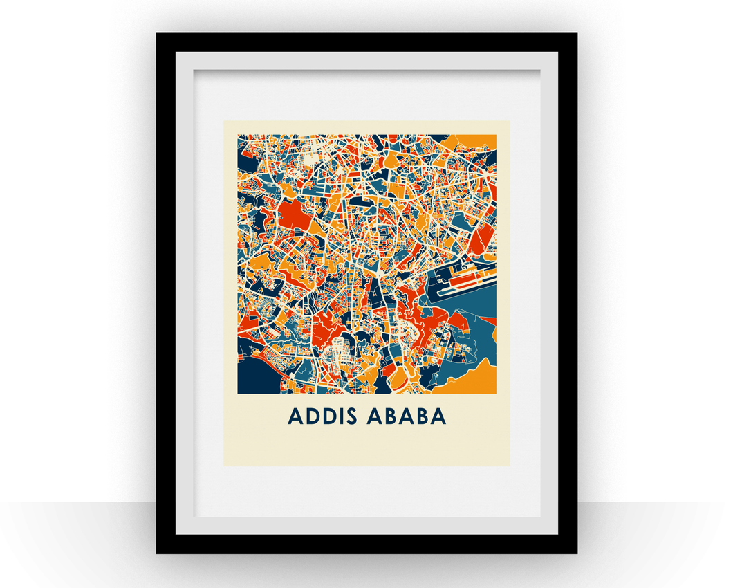 Addis Ababa Map Print - Full Color Map Poster