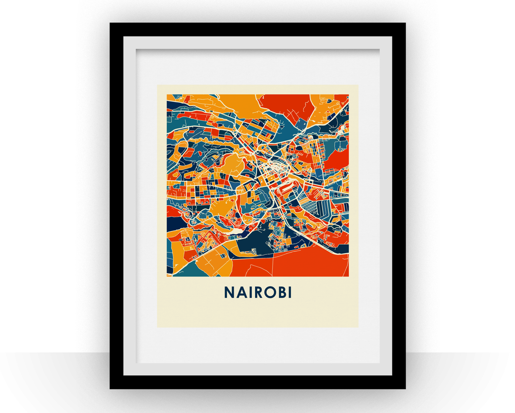 Nairobi Map Print - Full Color Map Poster