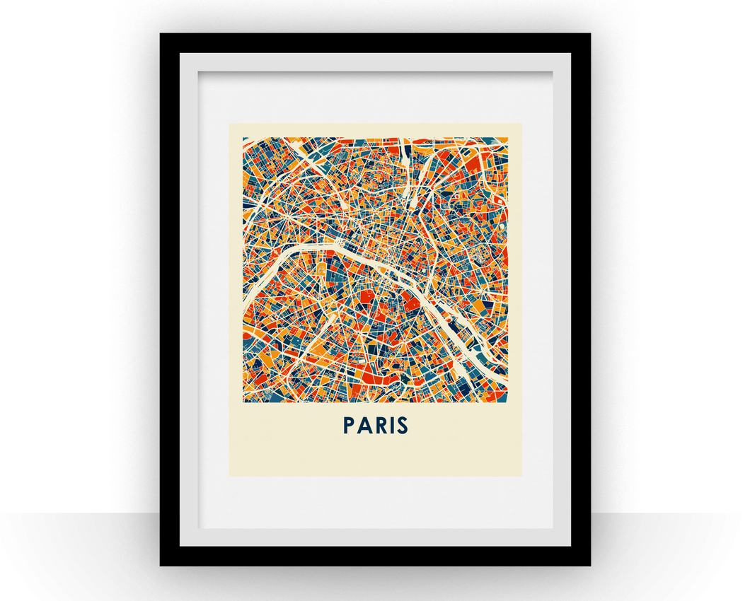 Paris Map Print - Full Color Map Poster