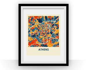 Athens Georgia Map Print - Full Color Map Poster