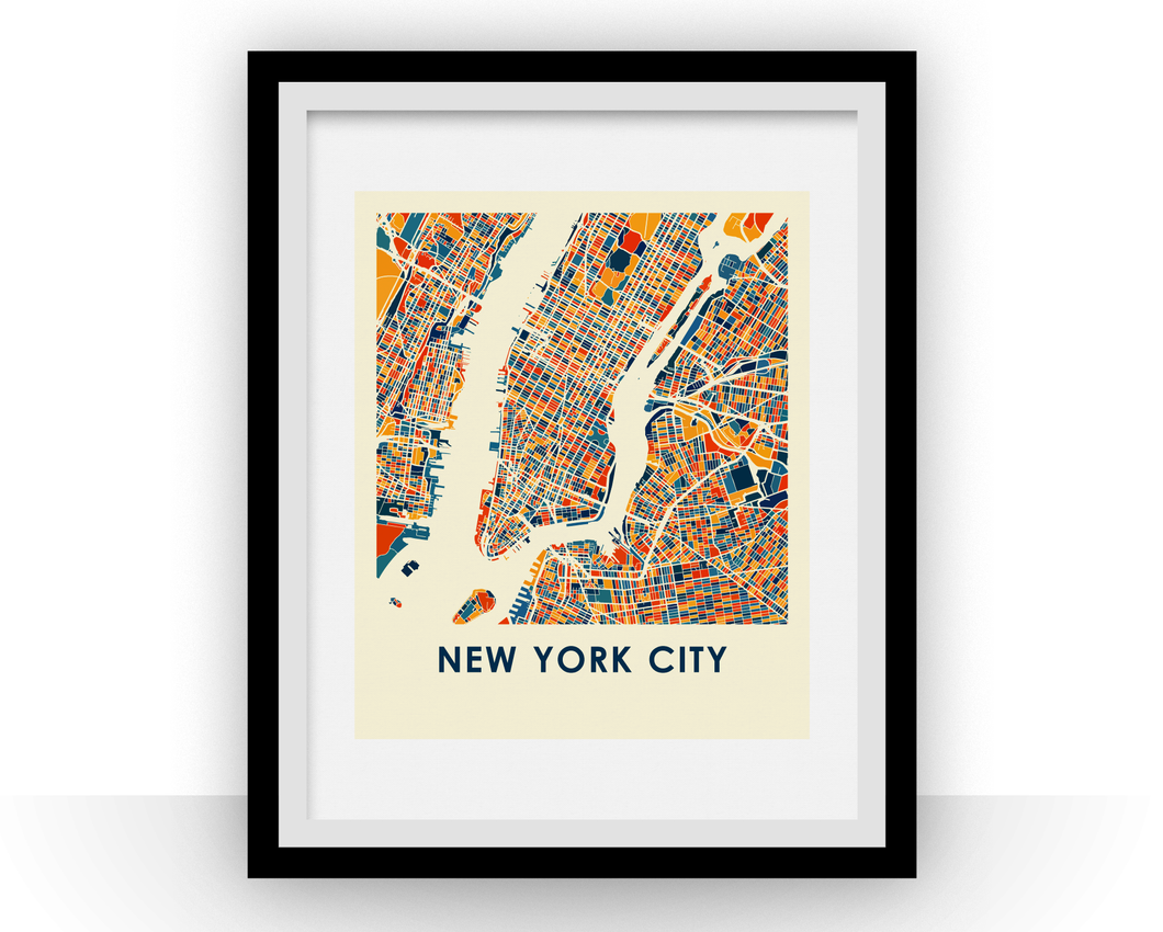 New York City Map Print - Full Color Map Poster