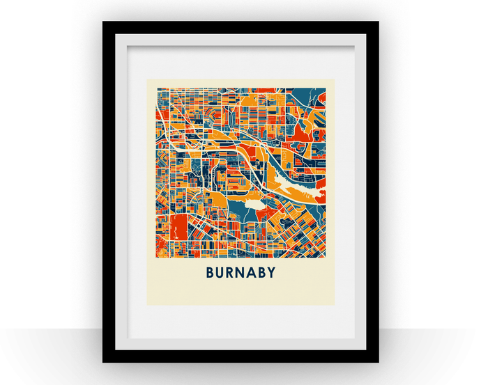 Burnaby British Columbia Map Print - Full Color Map Poster