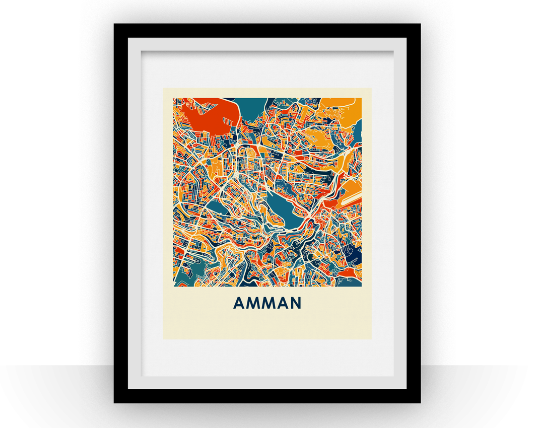 Amman Map Print - Full Color Map Poster