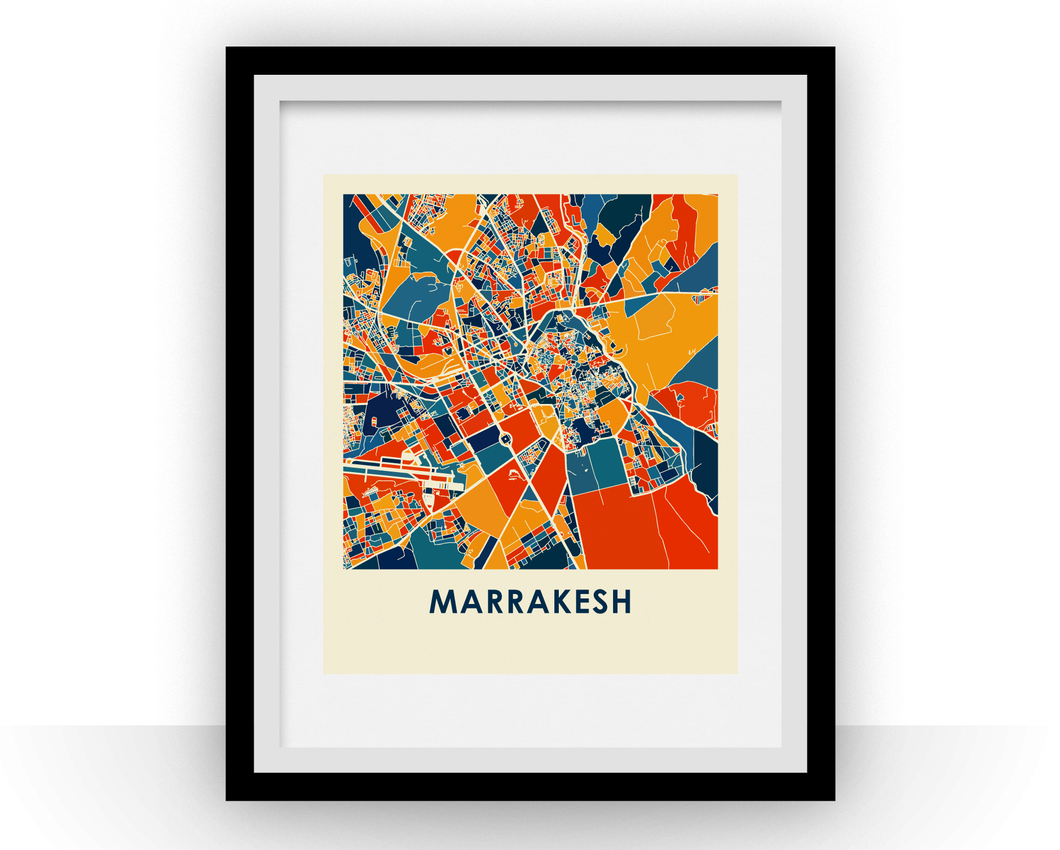 Marrakesh Map Print - Full Color Map Poster