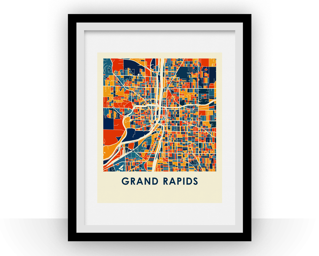 Grand Rapids Map Print - Full Color Map Poster