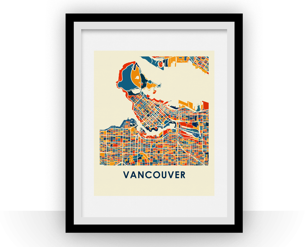 Color printing downtown vancouver - Vancouver Map Print Full Color Map Poster