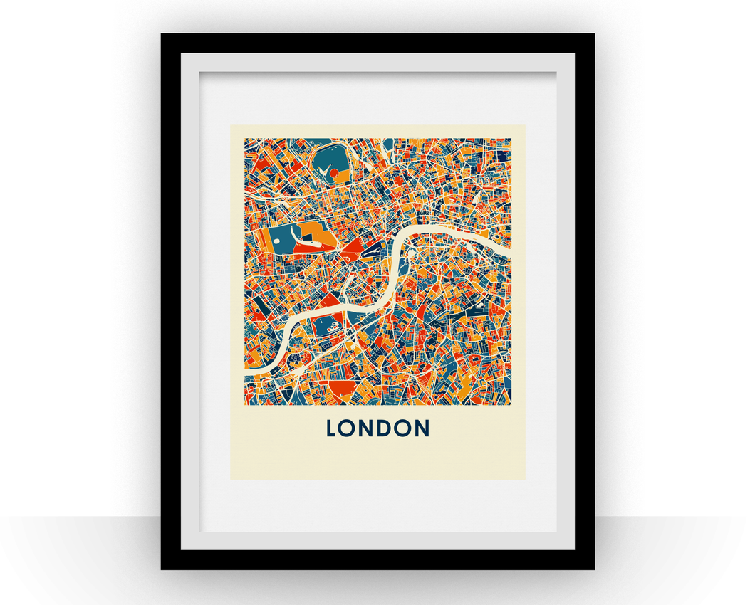 London Map Print - Full Color Map Poster
