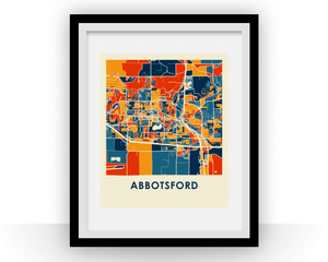 Abbotsford British Columbia Map Print - Full Color Map Poster