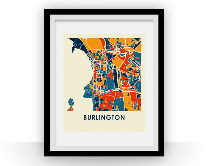 Burlington Map Print - Full Color Map Poster