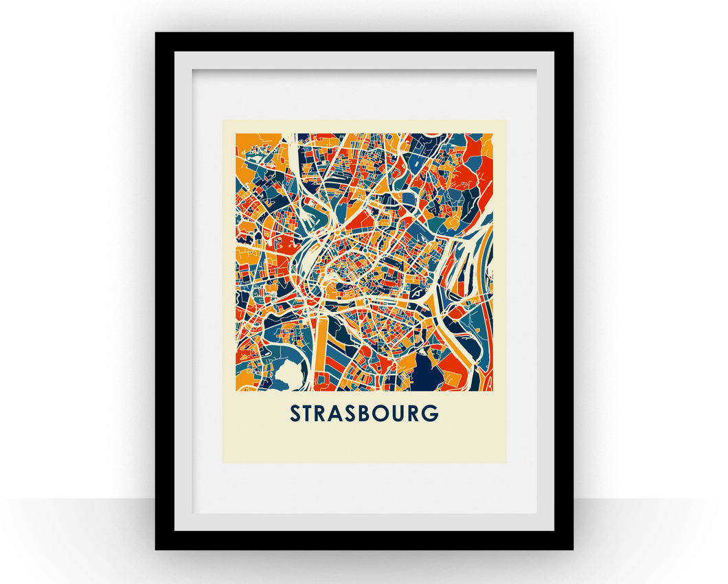 Strasbourg Map Print - Full Color Map Poster