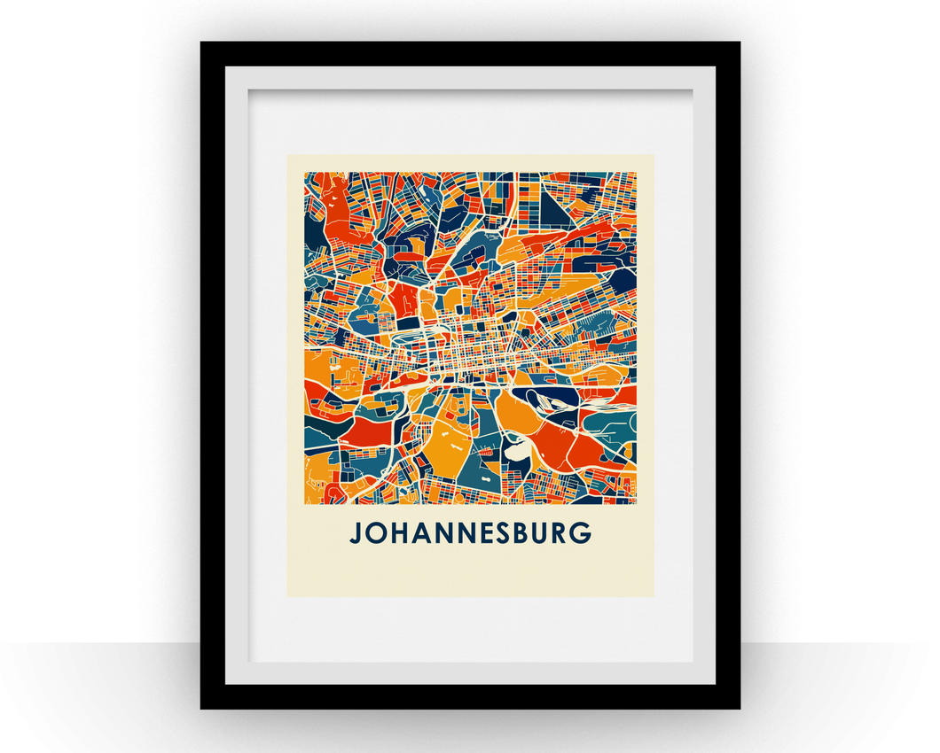 Johannesburg Map Print - Full Color Map Poster