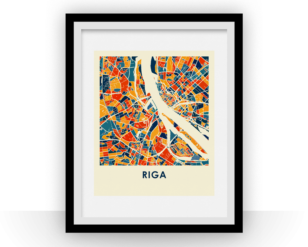 Riga Map Print - Full Color Map Poster