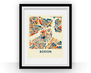 Boston Map Print - Full Color Map Poster