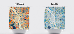 Portland Map Shower Curtain - usa Shower Curtain - Chroma Series