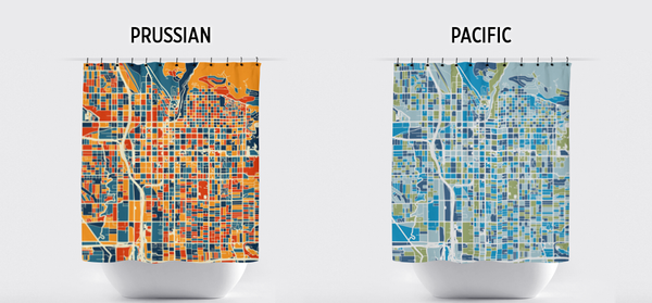 Salt Lake City Map Shower Curtain - usa Shower Curtain - Chroma Series