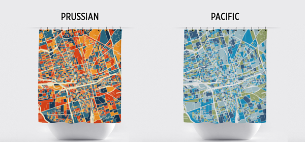 Stockton Map Shower Curtain - usa Shower Curtain - Chroma Series