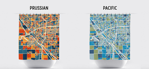 Fresno Map Shower Curtain - usa Shower Curtain - Chroma Series