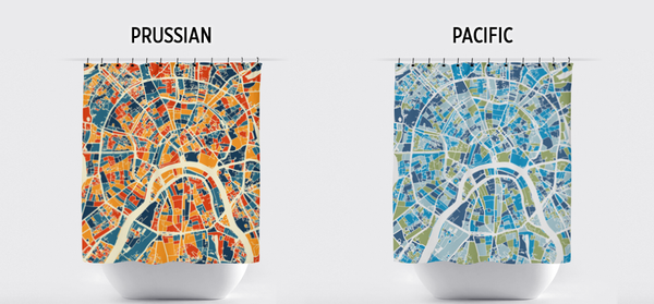 Moscow Map Shower Curtain - russia Shower Curtain - Chroma Series