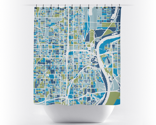 Omaha Map Shower Curtain - usa Shower Curtain - Chroma Series
