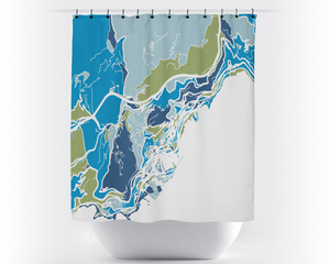 Monaco Map Shower Curtain - monaco Shower Curtain - Chroma Series